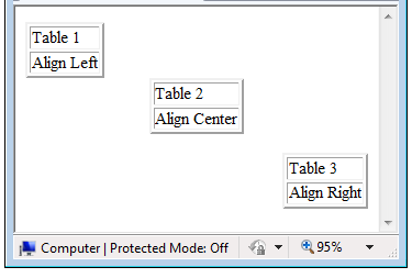 How to set html table align attribute for Html table align